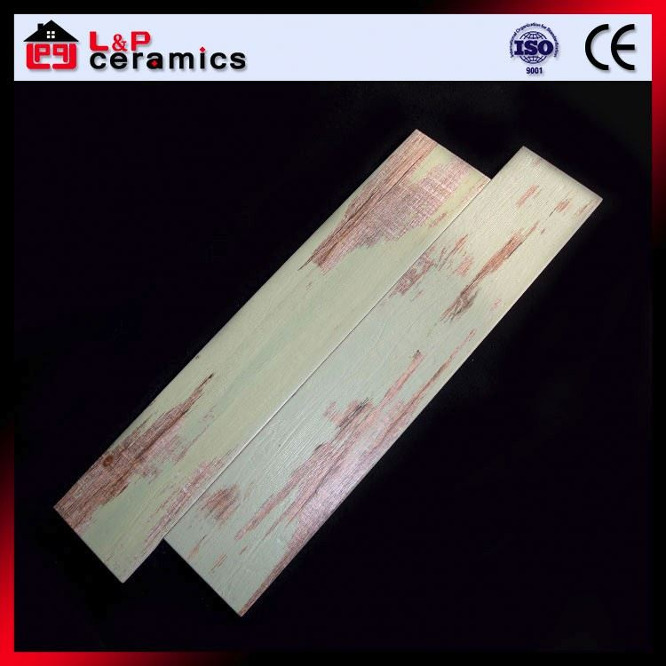 Vintage green wood Foshan factory wood design ceramic floor tile for residence