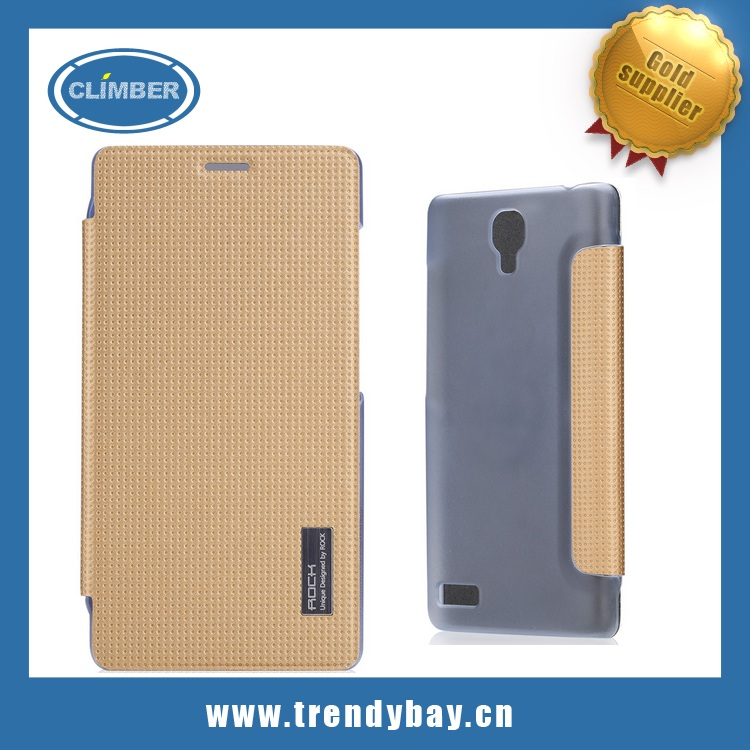 Rock brand leather flip case for xiaomi red rice hongmi note