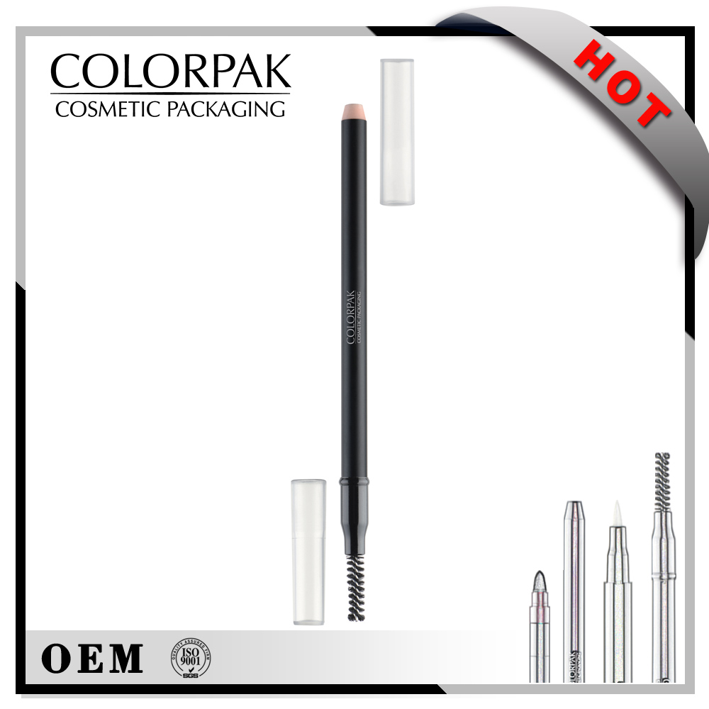 Double ended easy to sharpen plastic empty sharpener eyeliner pencil package with lash brush