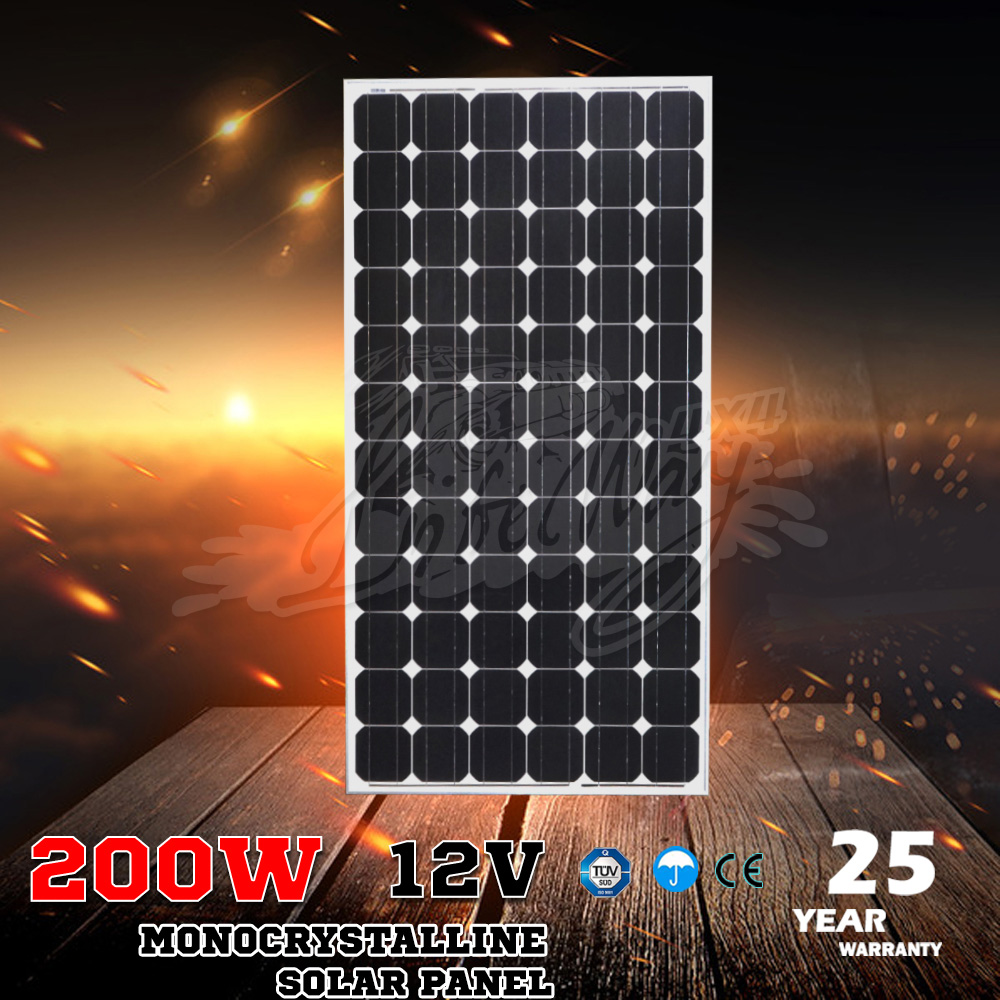 12V Low Price High Efficiency Monocrystalline 200w Roof Solar Panel for Home System