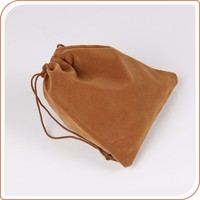suede jewelry bag one color logo on front side suede pouches