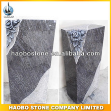 Excellent Craftmanship Hand Carving Rose Bahama Blue Granite Headstone