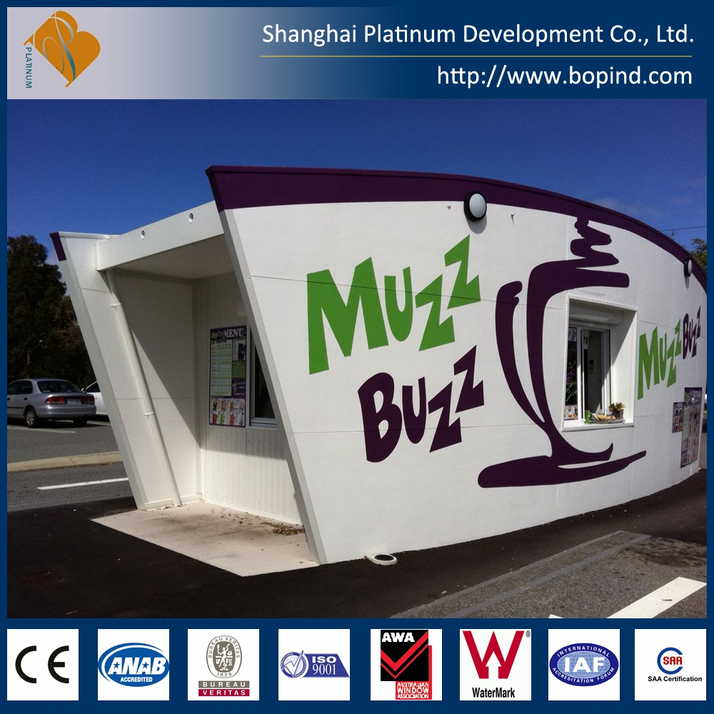 fashional style prefab light steel mobile shops, modular expandable container shops