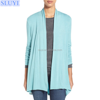 western style light blue long cardigan designs wholesale custom women cardigans fashion cashmere sweater