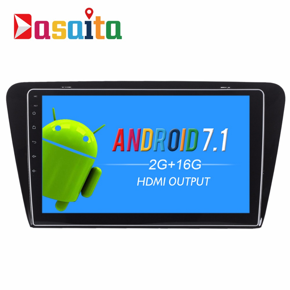 "Dasaita 9"" inch GPS navigation Android 7.1 OS car dvd player for Skoda Octavia 2014+ with 3/4G Wi-fi bluetooth quad core"