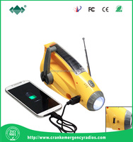 Mobile phone and USB charger 3 led hand crank flashlight ( XLN-288DUS)