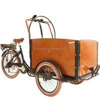 2015 new two front wheel tricycle cargo bike with wooden box price