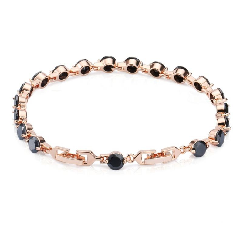 Hand made fashion women 's rose gold plated black cz cubic zirconia crystal tennis bracelet for wedding party