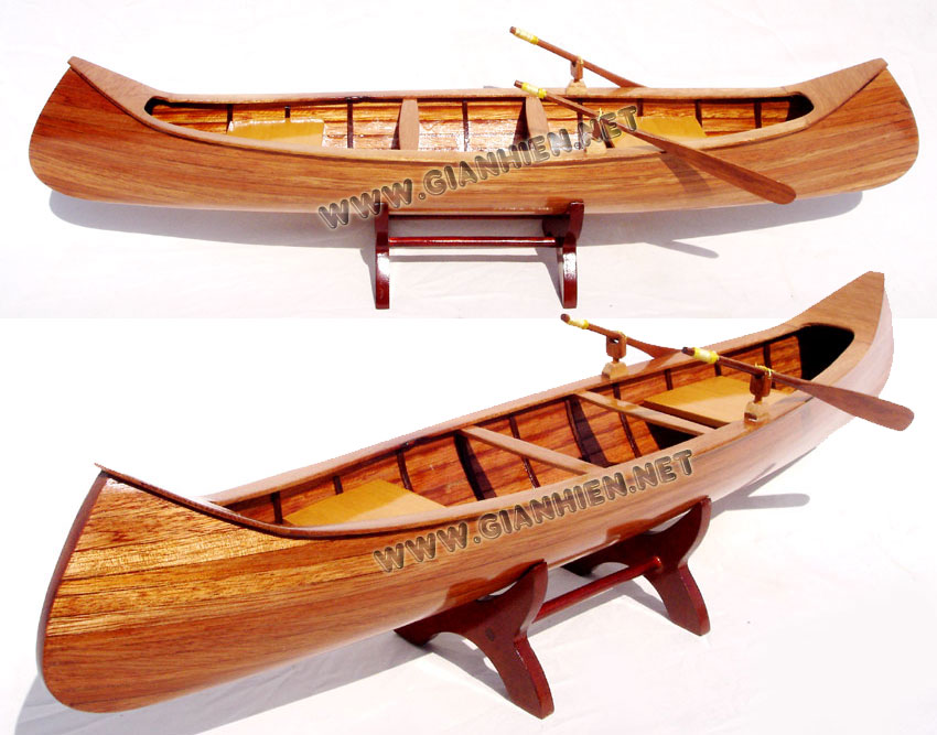 INDIAN GIRL CANOE WOODEN MODEL - WOODEN DECORATION