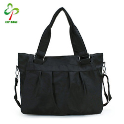 Simple vintage casual women ladies nylon foldable tote shoulder custom beach bag black