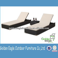 all weather adapted PE rattan/wicker aluminum outdoor double recliner set