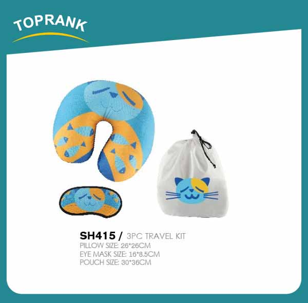Toprank best-selling newly designed airplane camping bedding sleeping travel neck pillow with eye mask