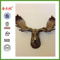 Painted Moose Head Hunting Trophy with Antlers Antique Brass Resin Taxidermy