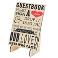 "Wedding Guestbook Sign ""Please Sign A Heart"" Sign for Wooden Wedding Heart Drop Box With Wooden Stand"