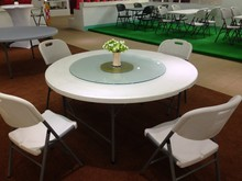 5ft blow mold cheap plastic folding round table and chairs for banquet wedding restaurant
