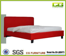 Simple leather fabric bed, Straight headboard bed frame, round corner headboard bed frame LBD073