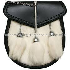 Traditional Casual Black Leather Scottish Kilt Sporran with original rabit fur and fur 3 Tassels
