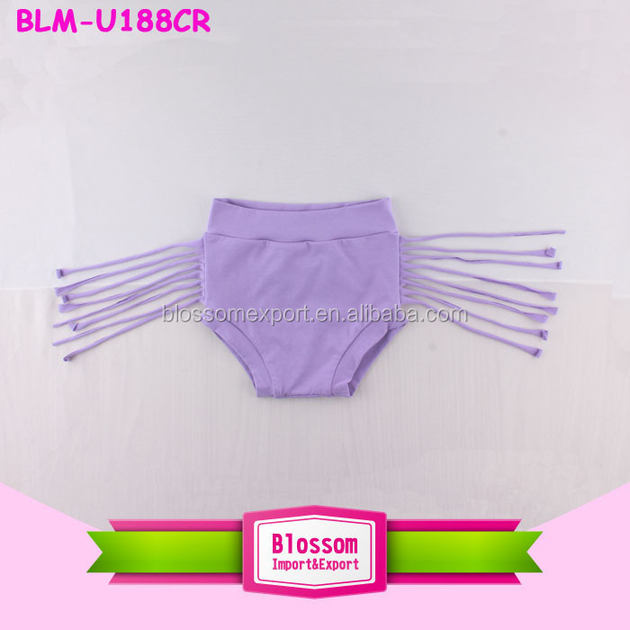 Girls Wholesale Children Boutique Clothing Spring Summer 2017 Cotton Ruffle Tassel Trim Shorts Diaper Cover Baby Fringe Bloomers