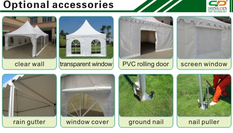 One high peak aluminum fashion tension tent for 20 people in tables and chairs