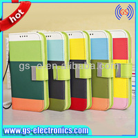 alibaba china supplier Colorful stripe wallet flip cover case for Samsung Galaxy S5 tri-color purse leather case