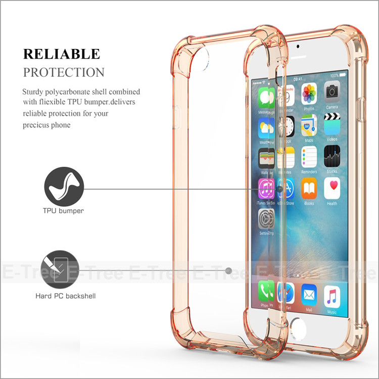 Shockproof Hybrid Tpu Frame Clear PC Hard Case For Apple iPhone 7