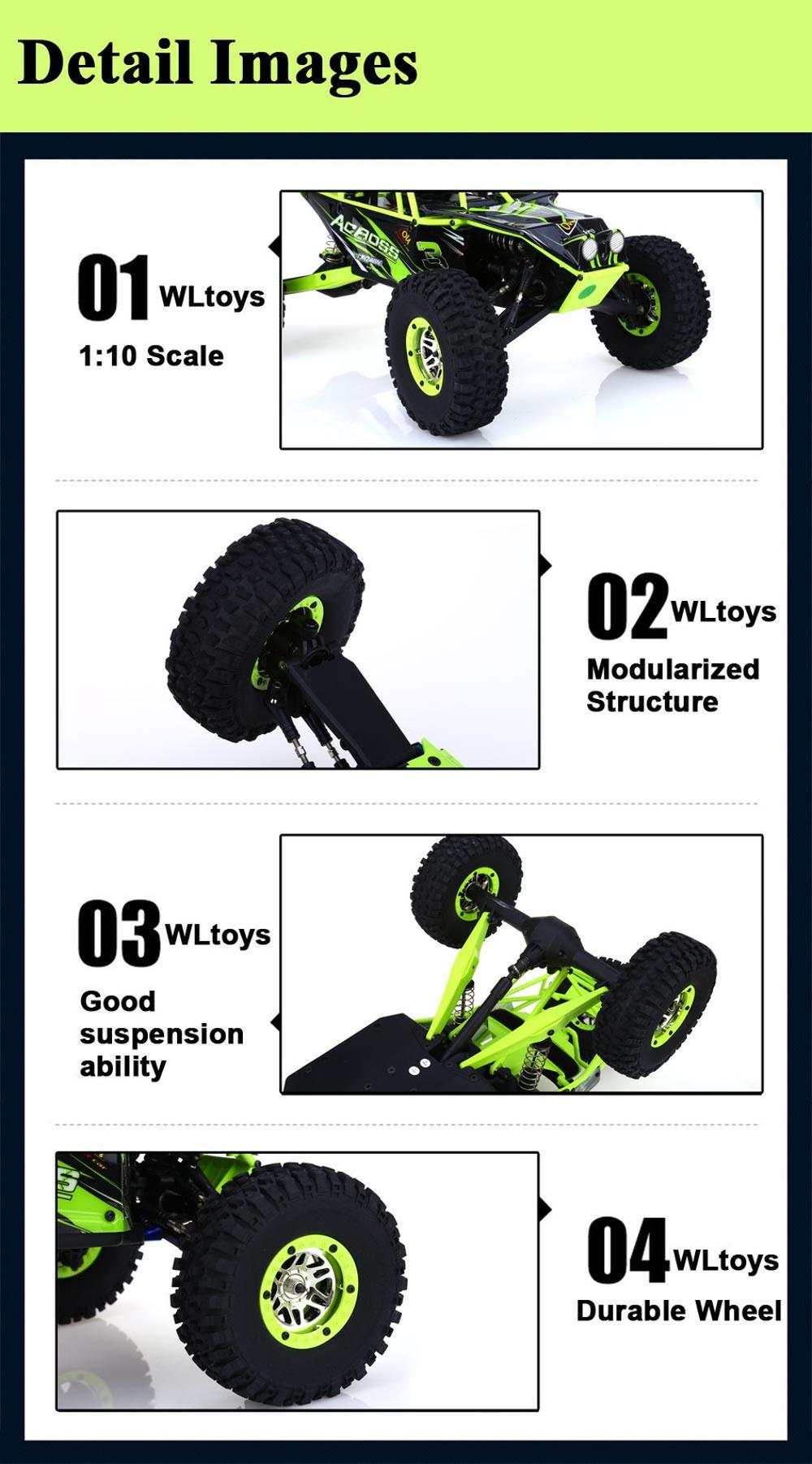 Global Drone WL10428 1:10 RC Car 2.4G Electric Brushed Rock Crawler SUV Remote Control Off-Road Model Toy Vehicles