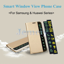 New Arrival Wholesale Business Smart Wake Sleep Answering Phone Window View Leather PC Case For Samsung GALAXY Note 4 Note4
