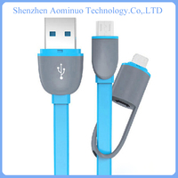 new 2016 Micro + 8 Pin Usb Port android charger cable electric flat cable