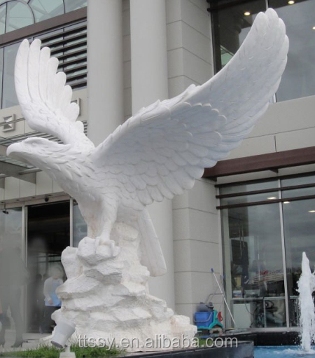 White marble carving eagle statue