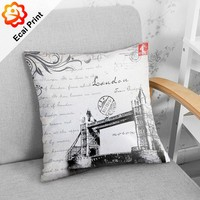 2018 wholesale latest design heat transfer printed Architecture Cushion cover