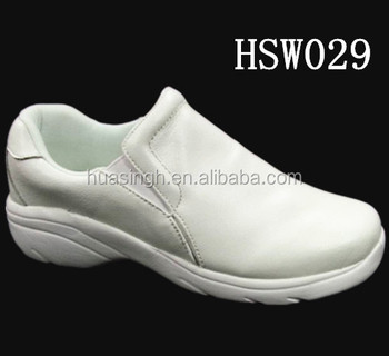 non slip rubber sole soft leather white work shoes for hospital/hotel/cleanroom