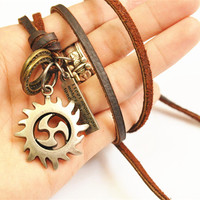 leather cord Hot Sale Europe And American punk Fashion Naruto Shuriken necklaces & pendants personalized anime necklace