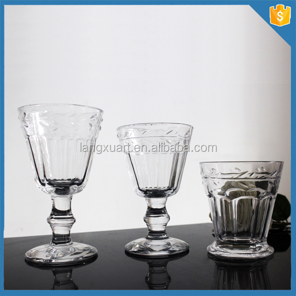 Hand pressed clear glassware wholesale for restaurant