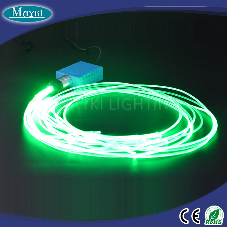 Car LED interior light atmosphere decoration with RGB color fiber projector and end lit cable