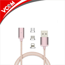 Micro USB Magnetic Cable 3 in 1 Nylon Braided Data Sync Charger Cord Micro USB Cable