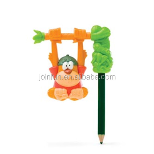 custom 3d shaped plastic animal pencil topper,custom make plastic cartoon character pencil topper