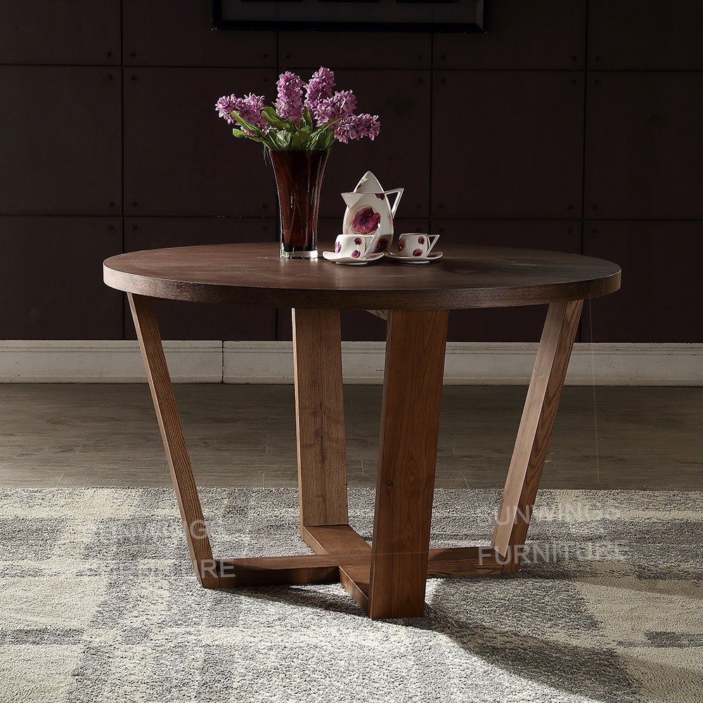 2019 modern design mdf round dining <strong>table</strong> with x solid wooden leg for 8 people