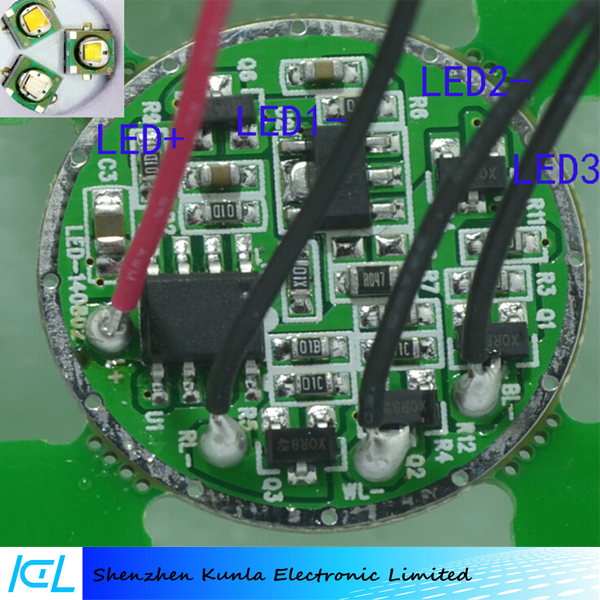 R2 / T6 white yellow blue light fishing lamp driver board 3 LED lamp beads flashlight circuit board
