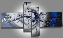 100% handmade Blue Grey simple on canvas abstract oil painting