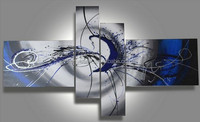 abstract oil painting 100% handmade Blue Grey simple on canvas