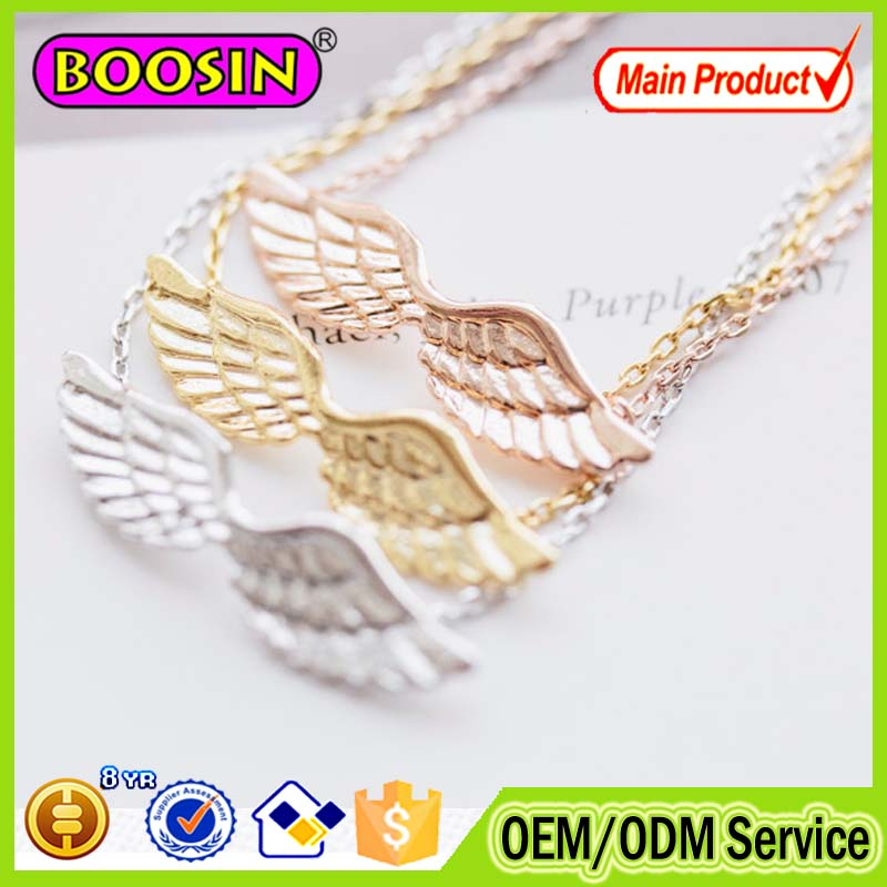 Fashion rose gold plated angle wing feather necklace #B048