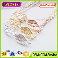 Fashion rose gold plated angle wing feather charm necklace #B048