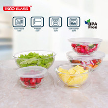 5 Piece Coloured Lidded Glass Food Storage Salad Bowl Set