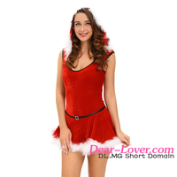 Factory Directly Sale Women Soft Fur Trim Red Santa Party Sexy Christmas Costume