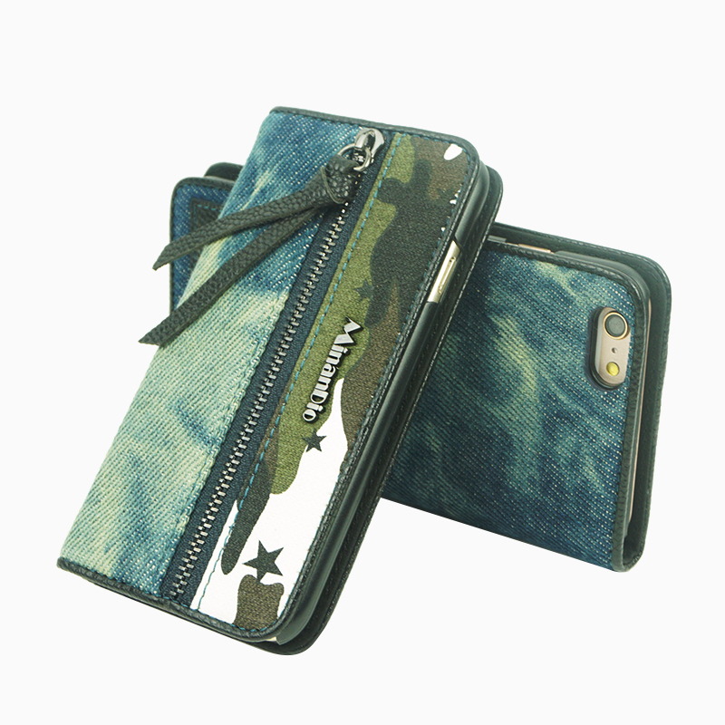 denim flip phone wallet jean case with card slots for iphone 7