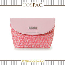 Wholesale Travel Pink Floral Pattern Polyester Makeup Case