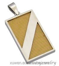 high quality rectangle 316l stainless steel plated gold jewelry