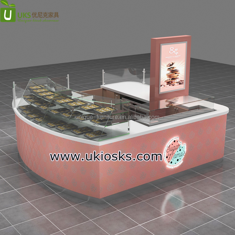 Newest cookies display stand shopping mall kiosk manufacture for sale