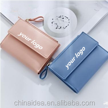 Blue New Style Fashion Casual Women Short Wallet Portable Practical Solid Color