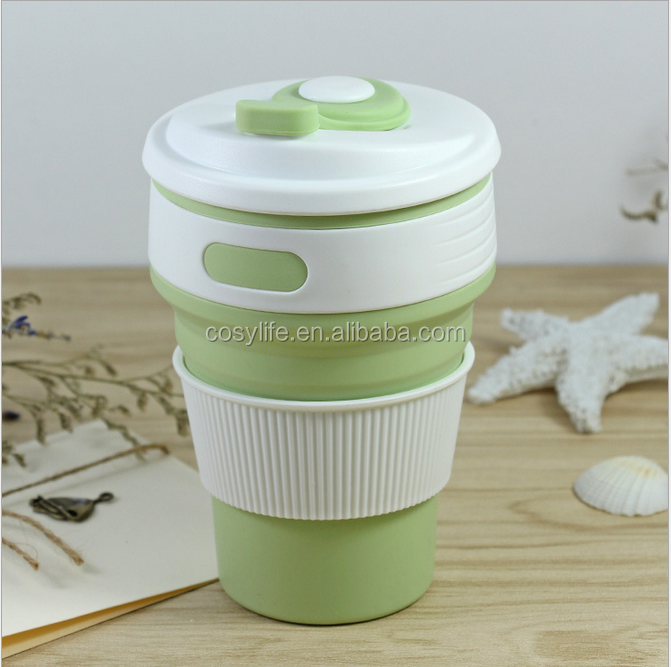2017 Newest Portable Silicone Mug Outdoor Collapsible Coffee Cup 300 ml Silicone Mug